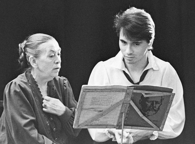 Dmitri Hvorostovsky with his voice teacher Yekaterina Iofel, 1991