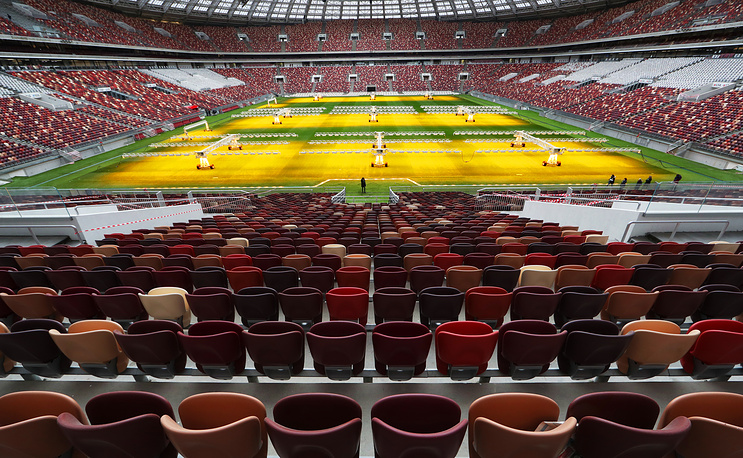 Seats and pitch at Luzhniki Stadium renovated for the 2018 FIFA World Cup