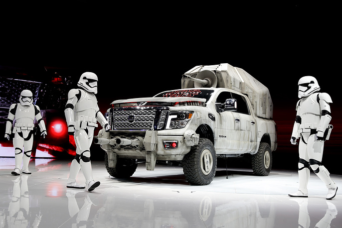 """The """"Star Wars""""-themed Nissan Titan custom truck is introduced during the Los Angeles Auto Show, USA, November 30"""