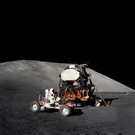 Astronaut Eugene A. Cernan makes a short checkout of the Lunar Roving Vehicle