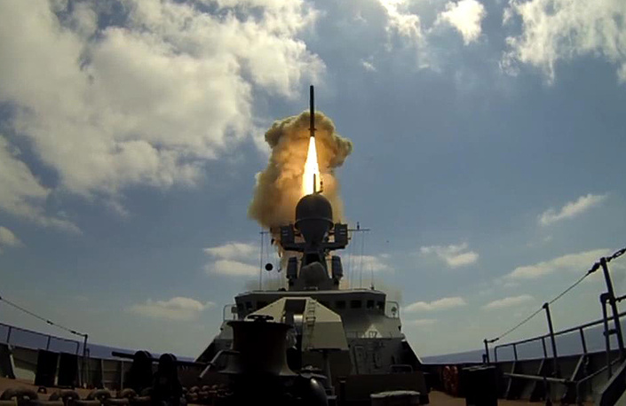 A missile ship of the Russian Navy's Black Sea Fleet in the Mediterranean Sea fires a Kalibr cruise missile against Jabhat al-Nusra targets in Syria, August 18, 2016