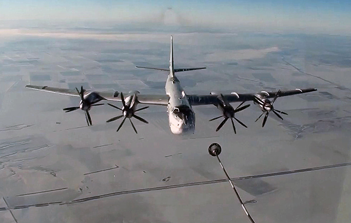 According to data as of September 22, 2017, Russian aircraft made over 30,000 sorties, delivered 92,000 strikes and eliminated about 58,000 terrorists since the start of the anti-terror operation in Syria. Photo: A Tu-95MS strategic bomber in Syria