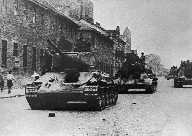 Soviet tanks on the streets of the recently liberated Minsk during World War II. 1944