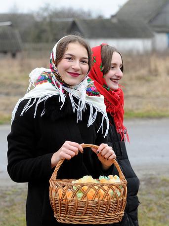 Traditional Christmas carolling in the village of Ivanova Sloboda, Belarus