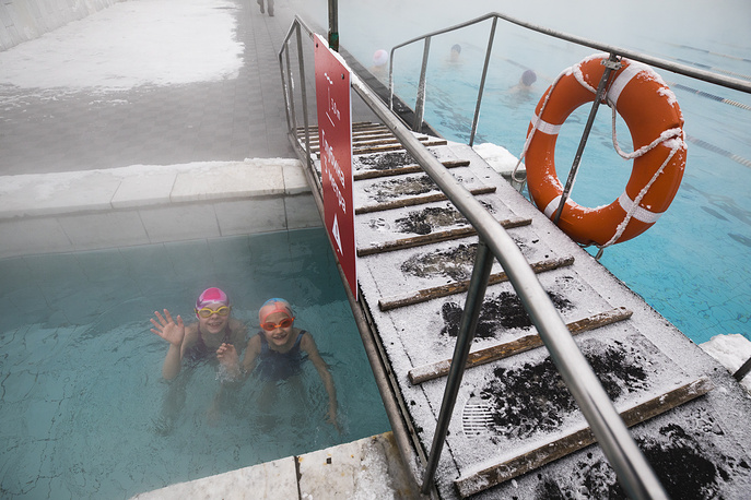 Winter swimmers in the Chaika outdoor swimming pool in central Moscow, Russia, February 7
