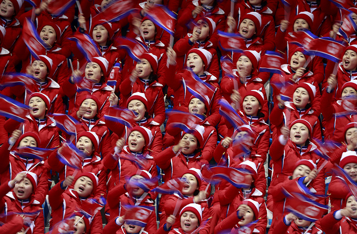 North Korea cheerleaders ahead of the Figure Skating competition at the Gangneung Ice Arena during the PyeongChang 2018 Olympic Games, South Korea, February 15