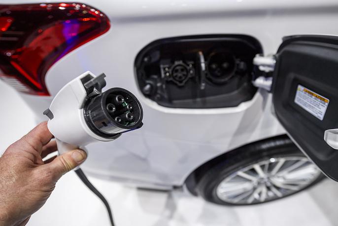 An electric plug on a vehicle