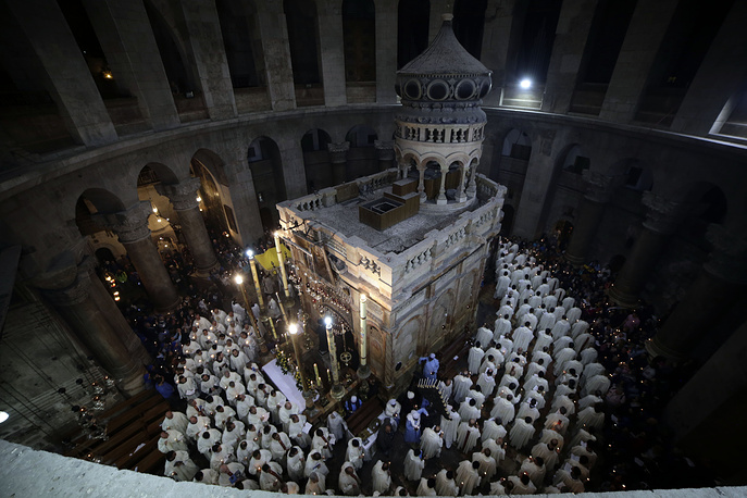 Washing of the Feet procession at the Church of the Holy Sepulchre in Jerusalem