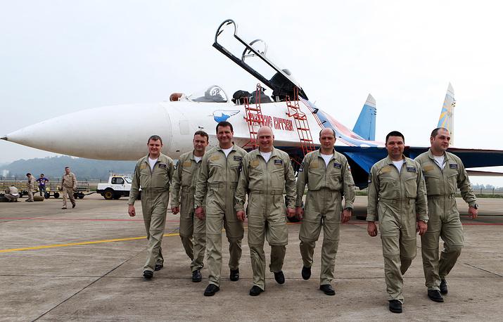 Members of the Russian Knights aerobatic team
