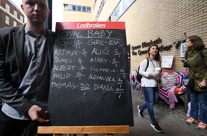 A betting board outside the Lindo Wing of St. Mary's hospital in London