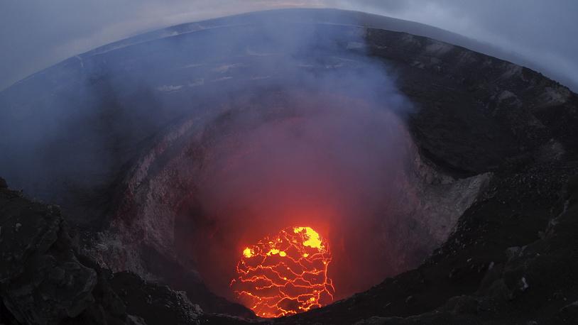 Lava lake at the summit of Kilauea near Pahoa, Hawaii, May 6. Hawaii's erupting Kilauea volcano has destroyed homes and forced the evacuations of more than a thousand people