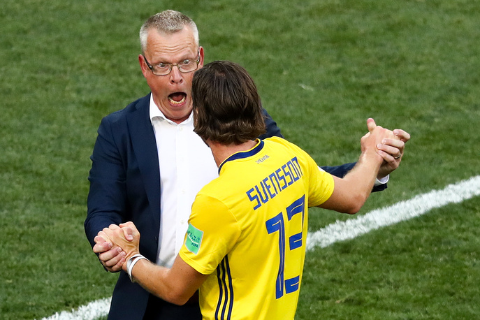 Sweden's head coach Janne Andersson and Gustav Svensson celebrate their victory in the group F match against South Korea at Nizhny Novgorod Stadium. Sweden won the game 1-0