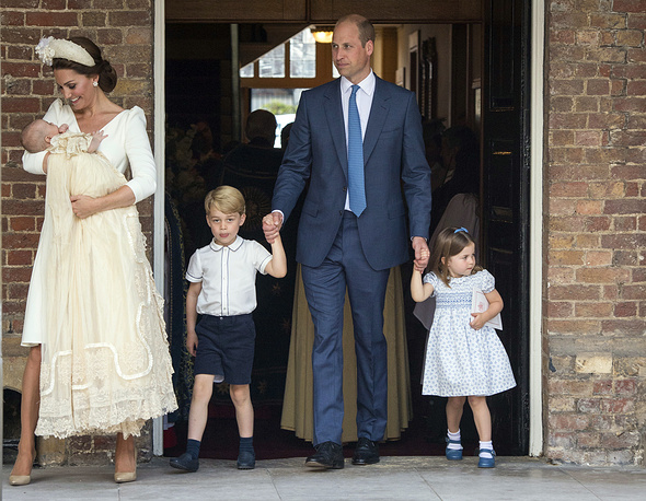 Britain's Prince William and Kate, Duchess of Cambridge with their children Prince George, Princess Charlotte Prince Louis as they arrive for Prince Louis' christening service at the Chapel Royal, St James's Palace, London, July 9