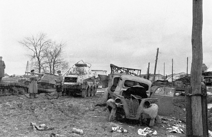 Wreckage of German military equipment and transport after the Wehrmacht defeat in the Battle of Kursk, 1943