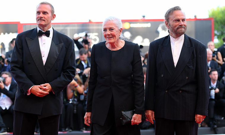 British actress Vanessa Redgrave (center) received the Golden Lion for Lifetime Achievement Award during the opening ceremony