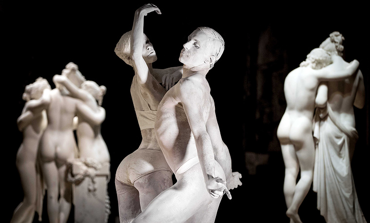 Dancers of the Dutch National Ballet painted to look like they are made from marble perform during the New Classics performance in Amsterdam, August 29