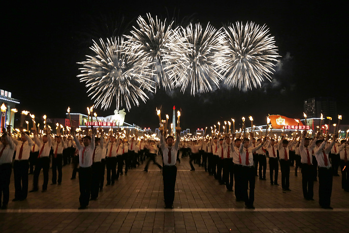 North Korean youths marching at the Kim Il Sung Square in Pyongyang