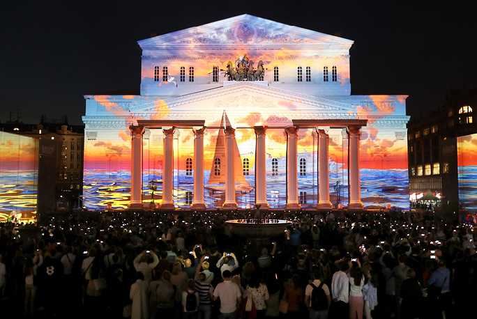 The facades of three theaters on Moscow's Teatralnaya Square – the Bolshoi, the Maly and the Russian Academic Youth Theater (RAMT) – became screens for light shows this year