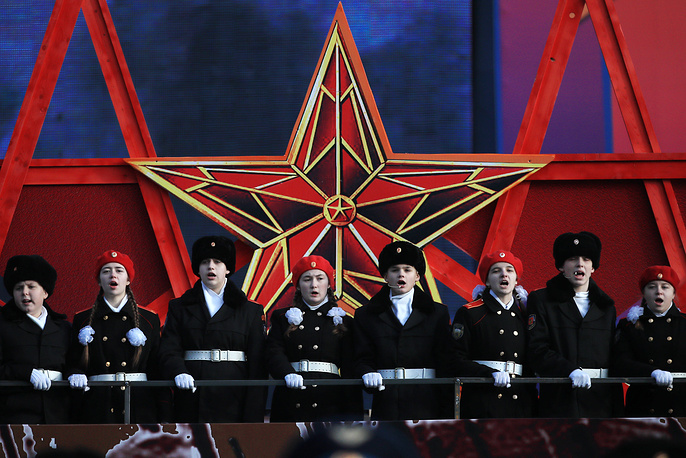 Cadets singing during a military parade on Moscow's Red Square