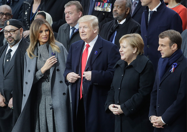 King Mohammed VI of Morocco, US First lady Melania Trump, US President Donald Trump, Germany's Chancellor Angela Merkel and France's President Emmanuel Macron