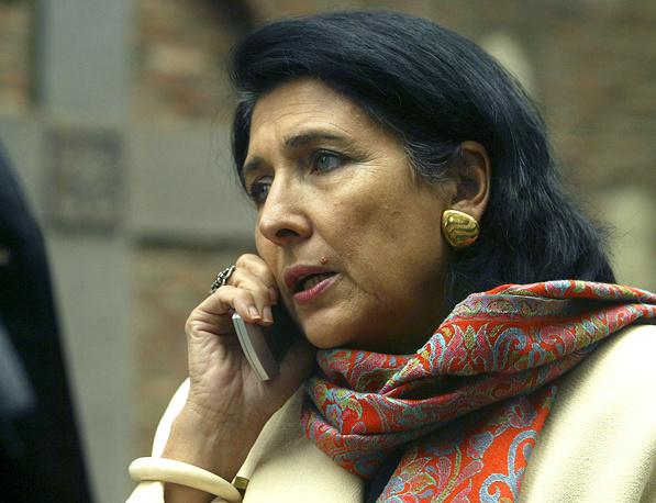 Salome Zurabishvili is seen before a meeting with Georgian Patriarch Ilya II in Tbilisi, 2007