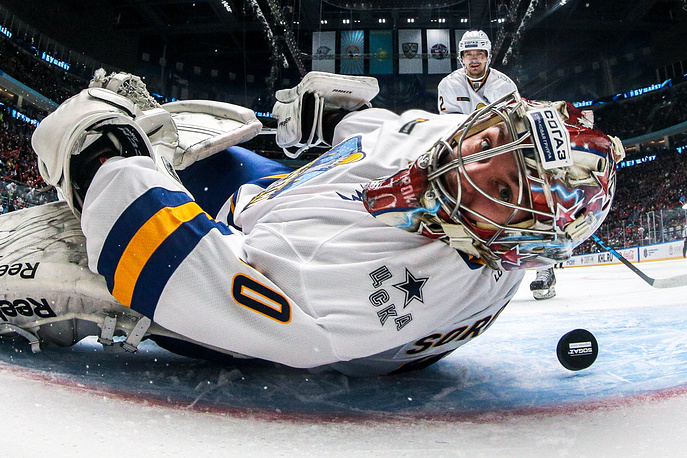 Goalie Ilya Sorokin of the Tarasov Division in the semi-final match against the Kharlamov Division during the Kontinental Hockey League All-Star Game, a four-team tournament between the Divisions of the League, as part of the 2018 Week of Hockey Stars, at Barys Arena in Astana