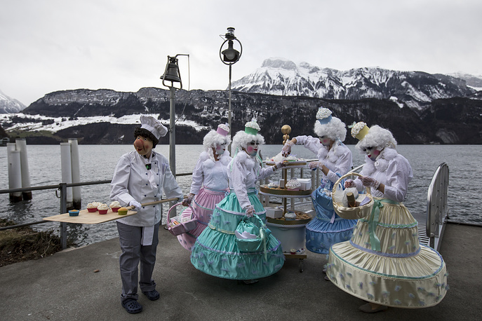 First carnival day with the presentation of the ladies masks in Gersau, Switzerland, January 28