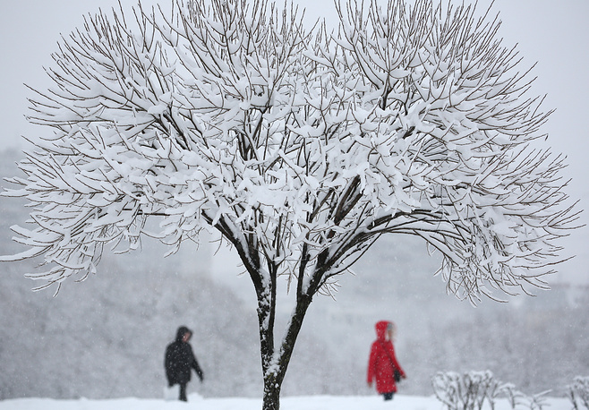 People walk in a park in Moscow's Butovo district