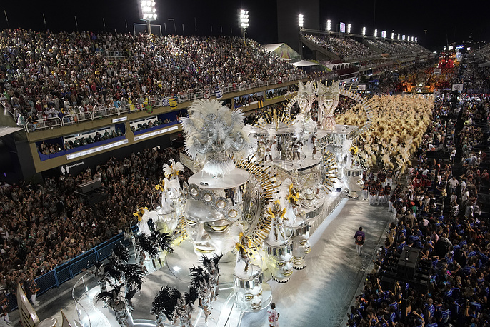 Performers from the Salgueiro samba school are seen at the Sambadrome in Rio de Janeiro