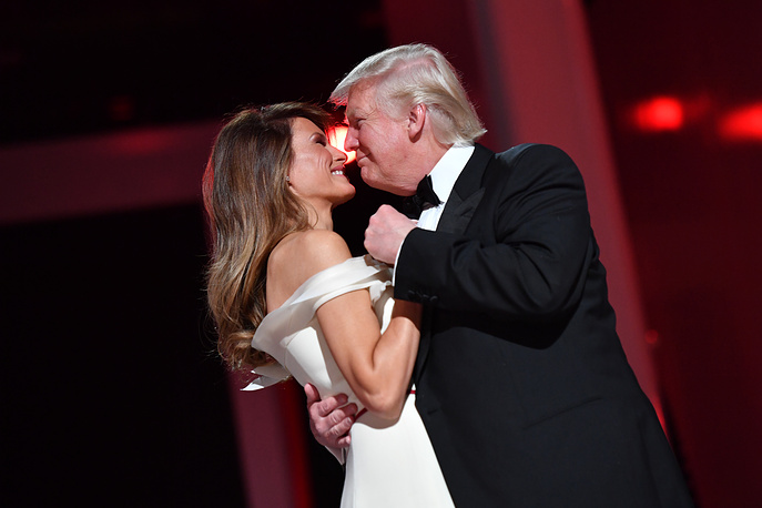US President Donald Trump dancing with First Lady Melania Trump at the Liberty Ball after Trump was sworn in as the 45th President of the United States in Washington, USA, January 2017