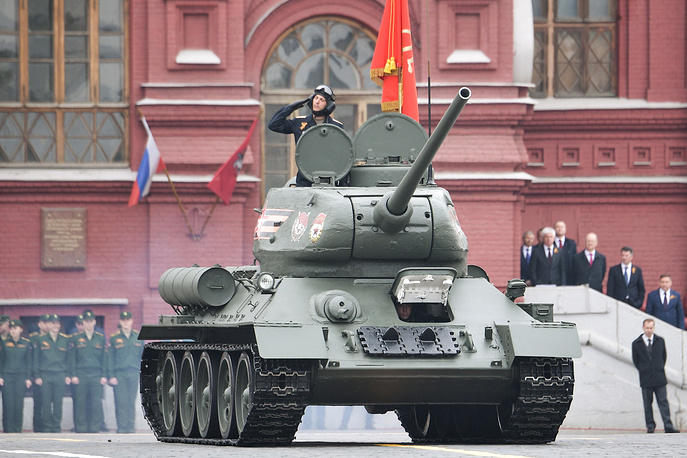 T-34-85 tank rolls down Moscow's Red Square