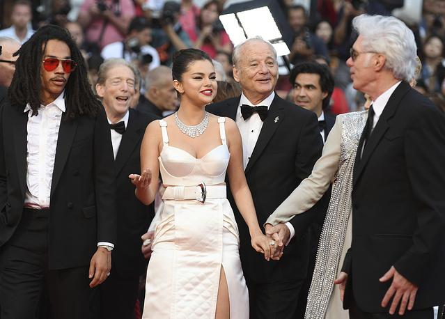 Actors Luka Sabbat, Selena Gomez, Bill Murray and director Jim Jarmusch