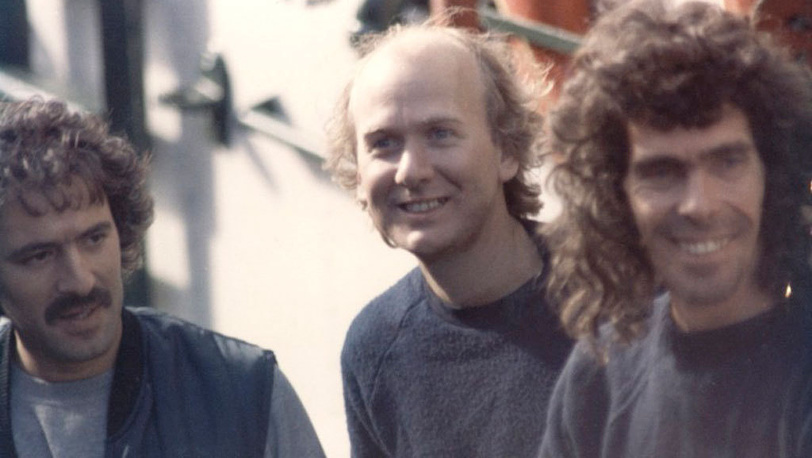 Fernando Pereira (left) and Rainbow Warrior crew members, 1985