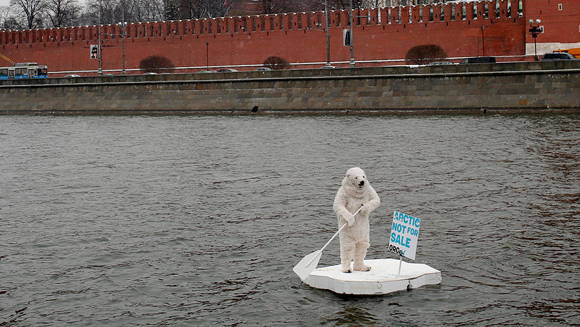 Activist in a polar bear costume near Kremlin, Moscow, 2013