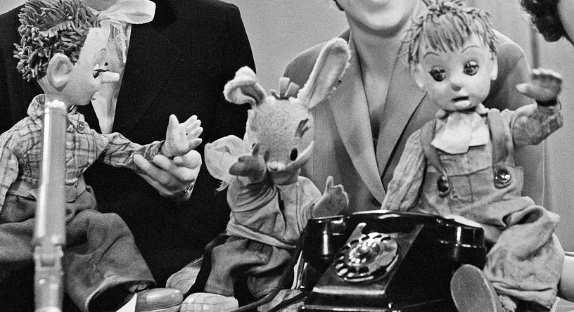 Куклы Шустрик, заяц Тёпа и Мямлик.