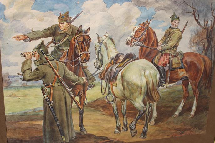 """""""Красный дозор"""". Петр Покаржевский. Бумага, акварель, 1923 год"""