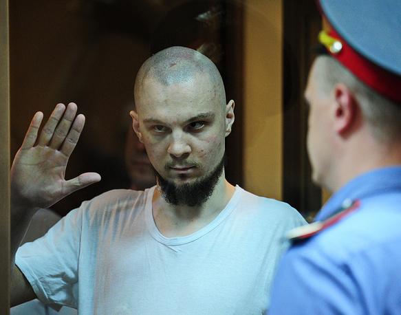 Владимир Акименков, обвиняемый в массовых беспорядках на Болотной площади, в зале заседаний Мосгорсуда