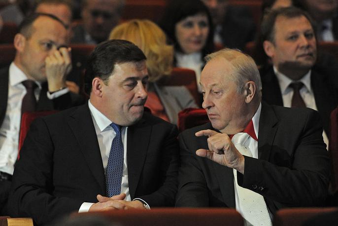 Губернатор Свердловской области Евгений Куйвашев и Член Совета Федерации Эдуард Россель (слева направо)