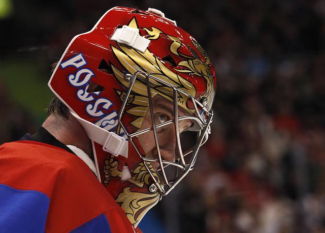 Вратарь сборной России по хоккею Евгений Набоков, 2010
