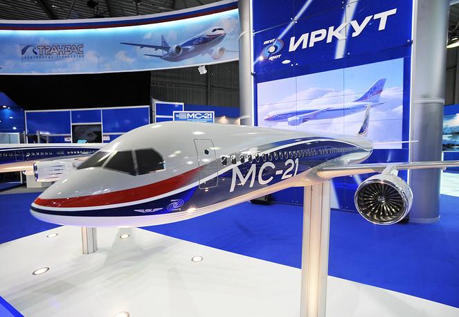 Макет нового гражданского узкофюзеляжного самолета МС-21 компании «Иркут» на международном авиационно-космическом салоне МАКС-2009 в Жуковском.