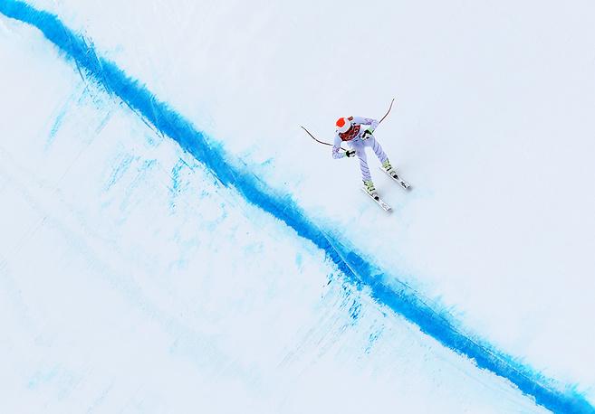 Трасса скоростного спуска в соревнованиях по горнолыжному спорту среди мужчин