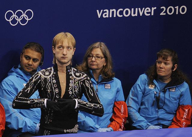 Евгений Плющенко перед выступлением с короткой программой на XXI зимних Олимпийских играх, 2010 год