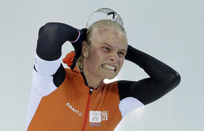 Голландский конькобежец Кун Вервей, выигравший серебро на дистанции 1500 м