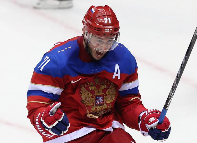 Нападающий сборной России Илья Ковальчук во время матча между сборными России и Норвегии