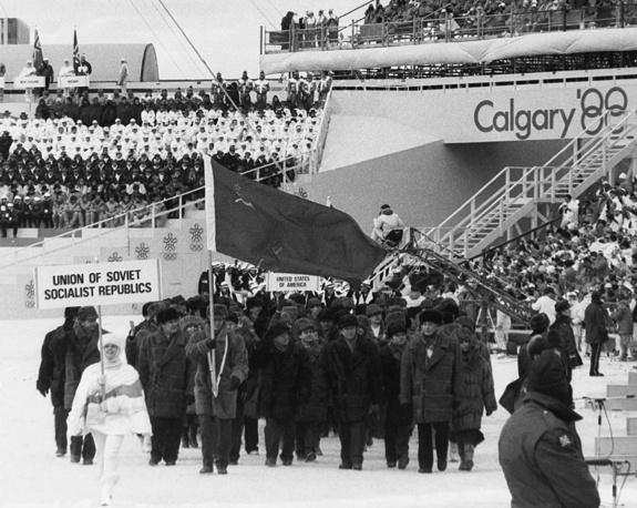 Советская делегация на церемонии открытия зимних Игр-1988 в Калгари