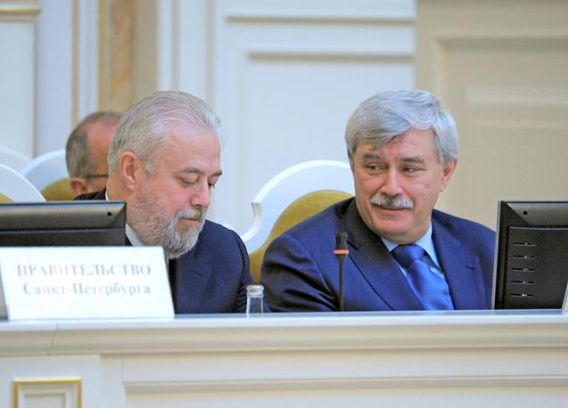 Губернатор Санкт-Петербурга Георгий  Полтавченко (справа) и вице-губернатор Игорь Дивинский