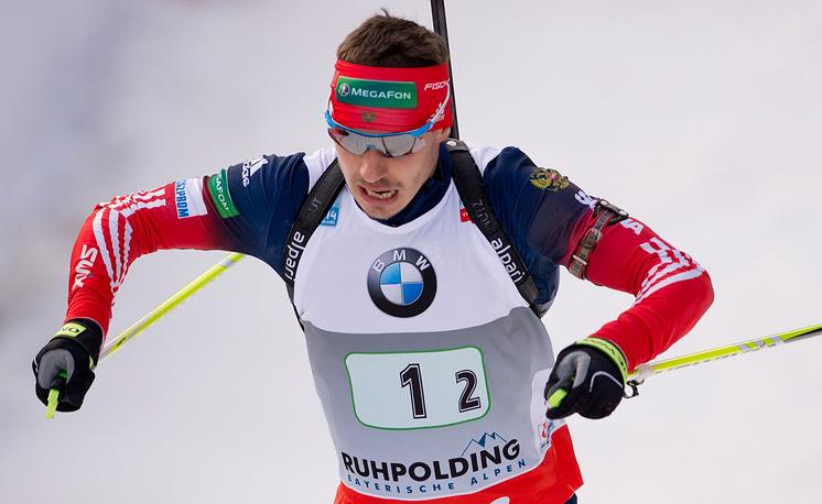 Евгений Устюгов во время эстафетына этапе Кубка мира в Рупольдинге