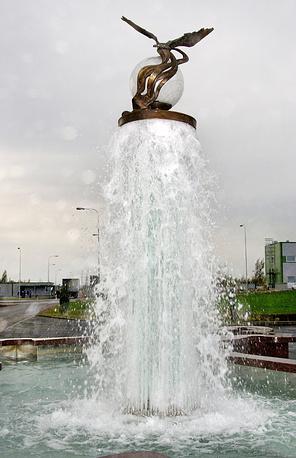 Фонтан  установленный на территории Юго-Западных очистных сооружений Санкт-Петербурга