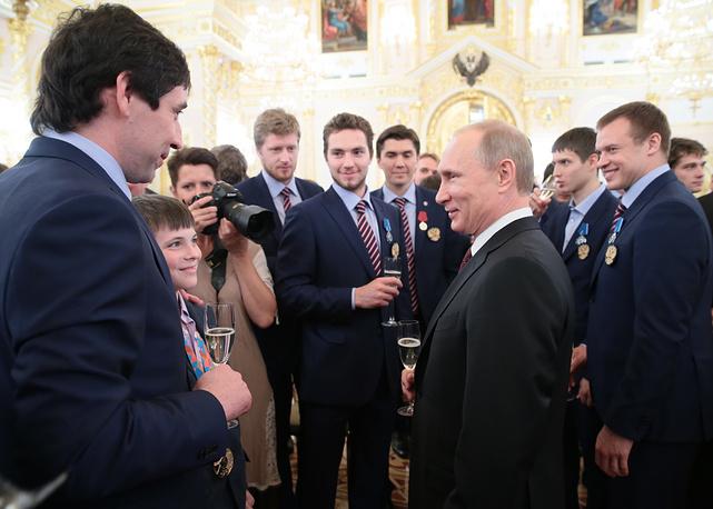 Церемония награждения национальной сборной России по хоккею
