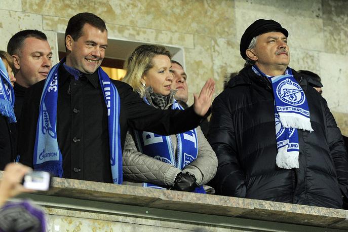 Президент РФ Дмитрий Медведев с супругой Светланой и губернатор Санкт-Петербурга Георгий Полтавченко на матче Лиги чемпионов. 2011 год